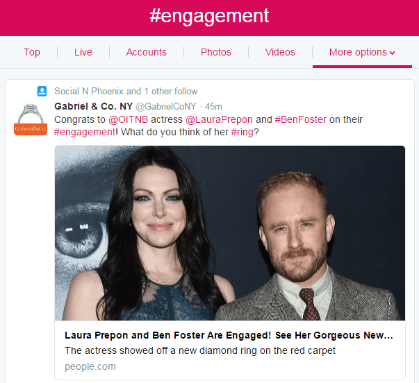A screenshot that shows a hashtag search on Twitter