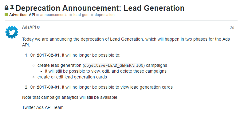 Twitter is Quietly Removing Lead Generation Campaigns | Social Media Today