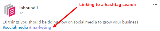 LinkedIn post with hashtags linking to the hashtag search