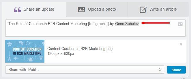 A screenshot that shows what tagging looks like on LinkedIn