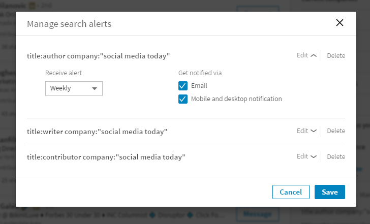 LinkedIn Reinstates 'Saved Searches' After Desktop Re-Design | Social Media Today