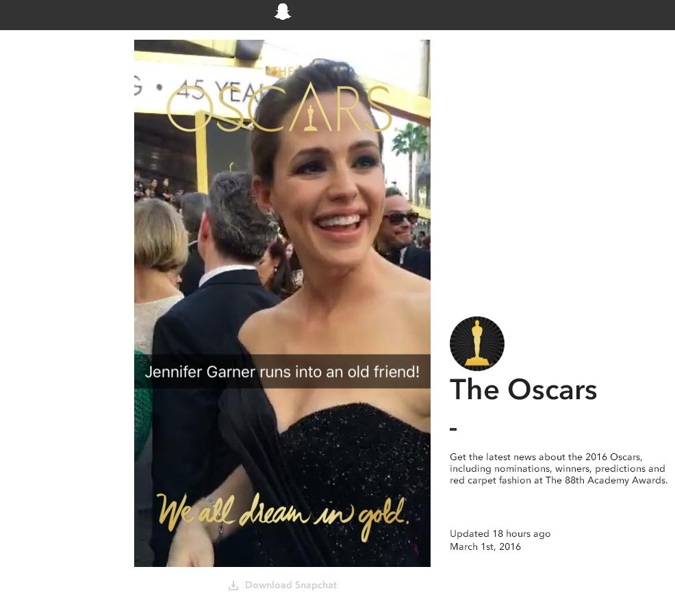 Snapchat Continues to Branch Out - Oscars Live Story Viewable on the Web | Social Media Today