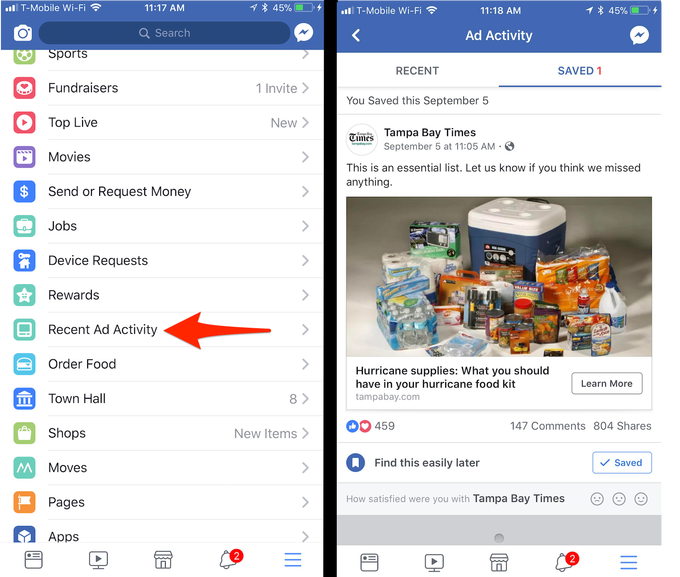Facebook Now Lets You Keep Track of Which Ads You've Engaged With on the Platform