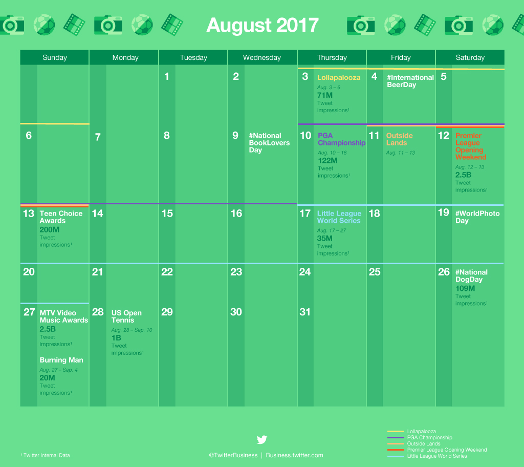 Twitter Releases Major Events Calendar for August to Help with Strategic Planning | Social Media Today
