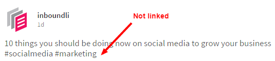 LinkedIn post with hashtag not linking to a hashtag search