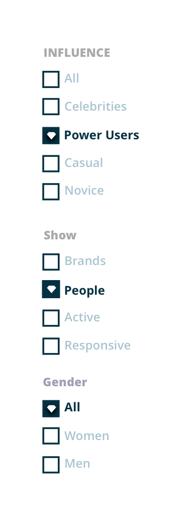 Klear filtering options for influencers
