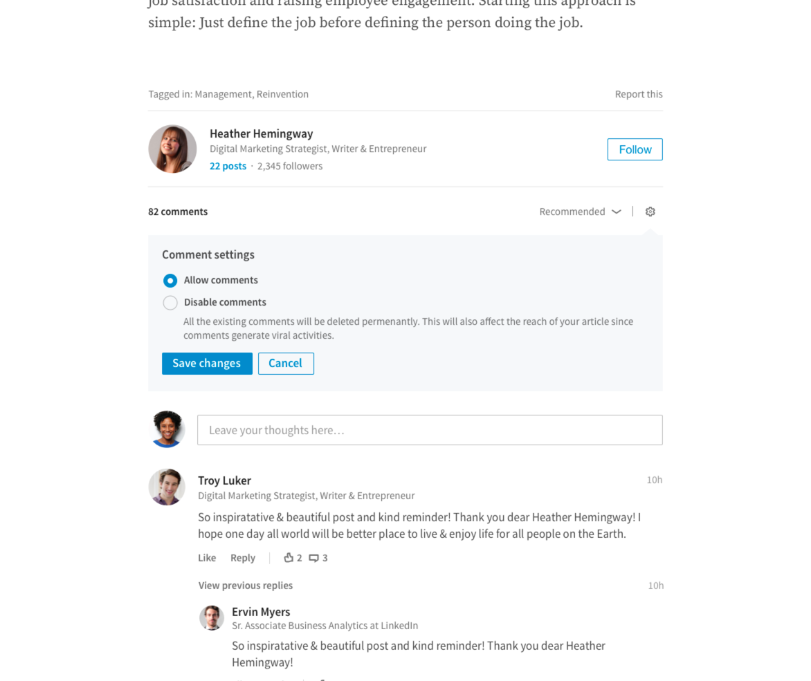 LinkedIn's Adding More Reporting Tools, Ability to Switch off Comments | Social Media Today